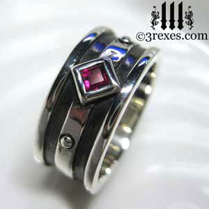 Ruby Stone Moorish Gothic Silver Ring 3 Rexes Mens