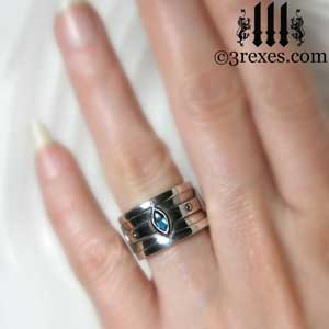 silver moorish marquise wedding ring blue topaz stone - Marquise Wedding Rings