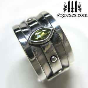 silver-moorish-marquise-wedding-ring-green-peridot-stone-august-birthstone-3-rexes-jewelry