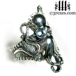 silver-octopus-dream-ring-blue-topaz-stone-eyes-studded-band-side-detail december birthstone by 3 rexes jewelry