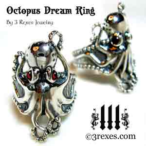 silver-octopus-dream-ring-garnet-and-black-onyx-stone-eyes-ad by 3 rexes jewelry