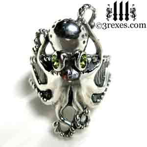 silver-octopus-dream-ring-green-peridot-stone-eyes-studded-band august birthstone by 3 rexes jewelry