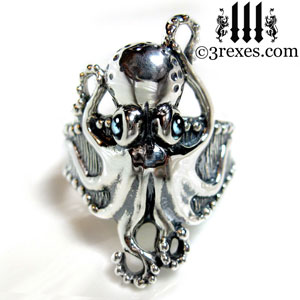 silver-octopus-ring-blue-topaz-cabochon-eyes-steampunk-jewelry-nautical