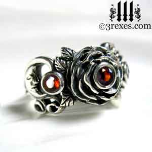 silver-rose-moon-spider-ring-gothic-red-garnet-stone-wedding-engagement-moon-side january birthstone by 3 rexes jewelry