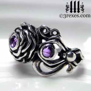 silver-rose-moon-spider-ring-purple-amethyst-cabochons