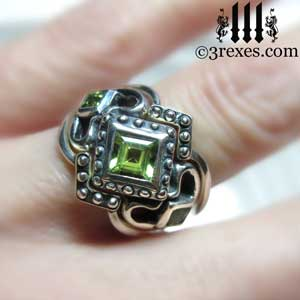 silver royal princess love stacking ring wedding set medieval band-green peridot stones model detail by 3rexes jewelry