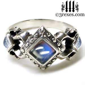 925 silver royal princess ring magic moonstone gothic engagement band medieval wedding band