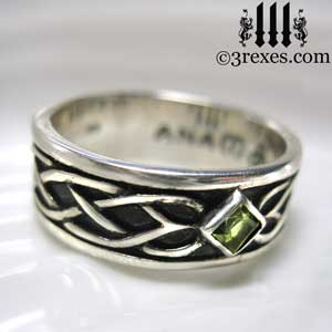 soul-love-anam-gra-mens-silver-celtic-wedding-ring-green-peridot-stone-4-august-birthstone