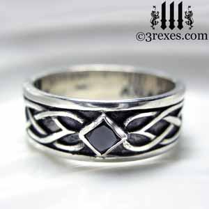 Soul Love Celtic Wedding Ring 925 Sterling Silver  Mens Black Diamond ...