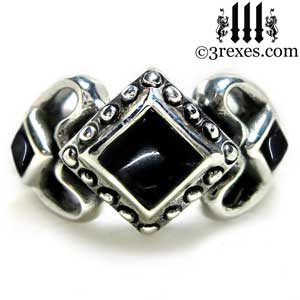 silver gothic ring womens sterling princess love ring black onyx stone medieval engagement band royal promise ring