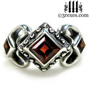 womens sterling silver princess love ring garnet stone gothic engagement band